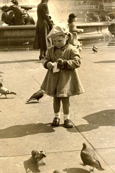 Small child feeding pigeons in Trafalgar Square in London