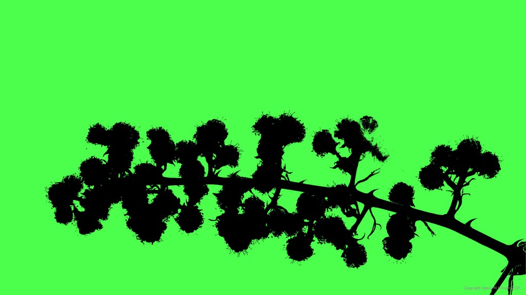 Silhouette from a photograph of Blackberries, on green background
